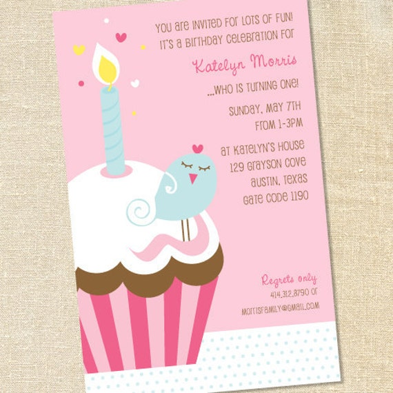 Sweet wishes girls first bird on a cupcake birthday party etsy image 0 filmwisefo