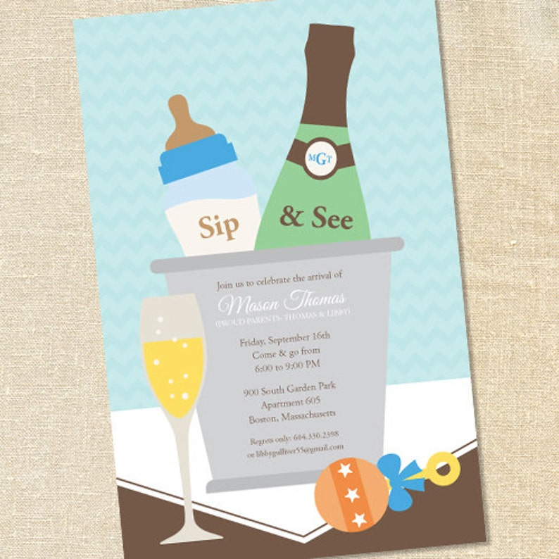 Sweet Wishes Boys Champagne Baby Shower Sip & See Invitations image 0