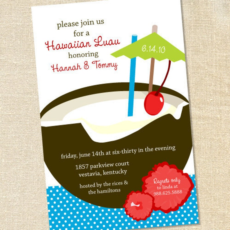 Sweet Wishes Tropical Luau Party Invitations