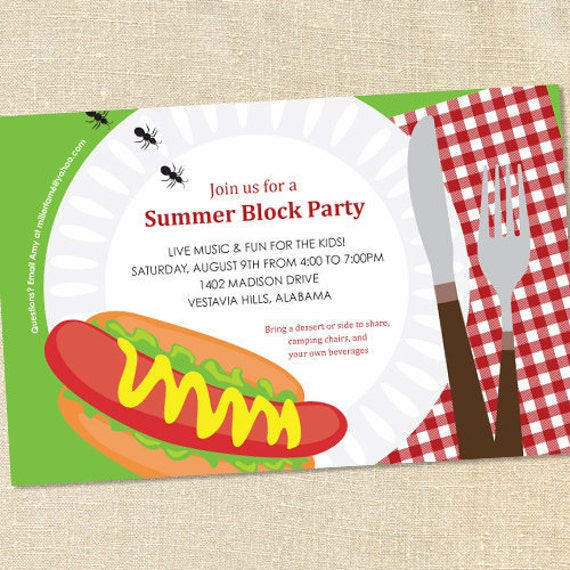 Sweet Wishes Summer Bbq Block Party Invitations Printed Digital