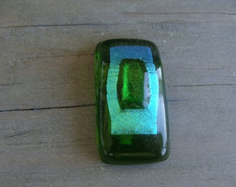 Fused Glass Dichroic Black Green Patchwork Rainbow Square Bead Pendant