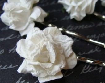 Paper Rose Hair Pins Hairpin Flower Mache Bridal White Bridesmaid Girl Bow Clip Hair Jewelry Wedding