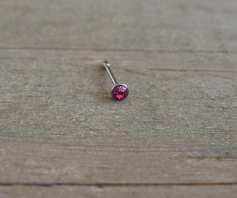 Tiny Pink Rhinestone Fuchsia Surgical Steel Nose Ring Post Screw Round Silver Plain Simple Stud Stick Bead Dot Small Plug Ball Round
