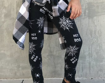 d836c6010 Halloween Baby Leggings, Spider Web Leggings, Spooky Leggings: Toddler Girl  Hey Boo, Baby Halloween Spider, Black and White Toddler Legging