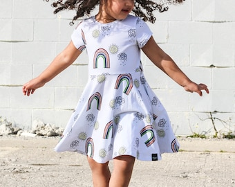 55fc2081d Toddler Girl Rainbow Dress, Cute Dress, Bright Dress, Rainbow Print  Clothes, baby easter dress, Toddler Swing Dress, Day Dress, Comfy Cotton