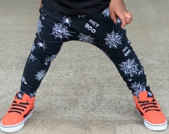 966a46eb4 Baby Harem SHORTS or PANTS Black & White Spider Webs, Toddler Harem Shorts, Baby  Halloween Pants, Hey Boo, Spooky Pants, Hipster Baby Pants
