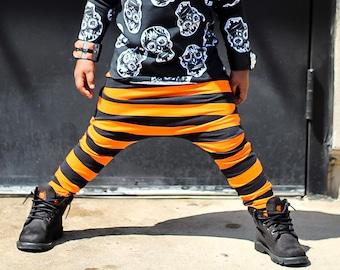 Baby Harem SHORTS or PANTS Orange and Black Stripe, Toddler Harem Shorts, Cool Kid Clothes, Halloween Pants, Toddler Halloween, Costume