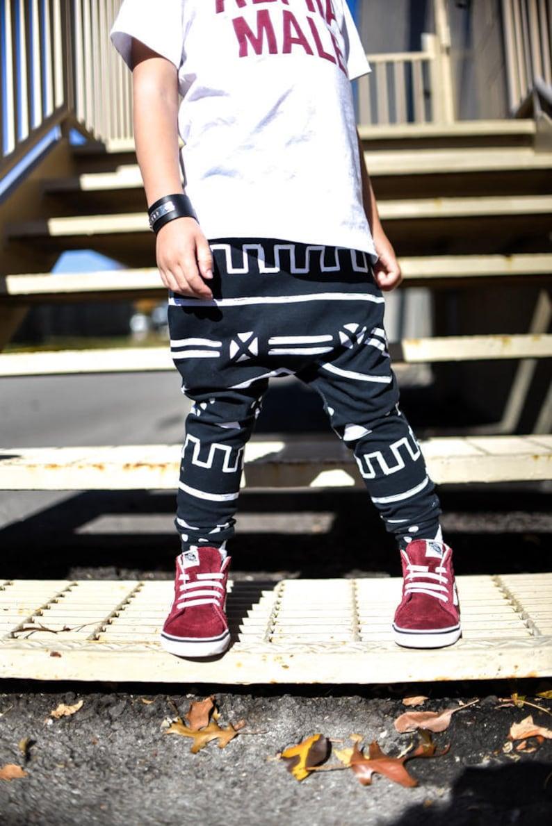 FashionToddler Kid's And Tribal ClothesMonochromeJoggersKids Black Print White Harem PantsEtsy PantsCool SzUMVp