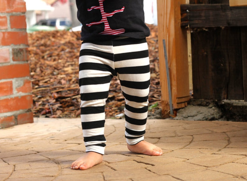 6901eba367a2f Baby Girl Baby Boy Black and White Striped Leggings: Toddler | Etsy