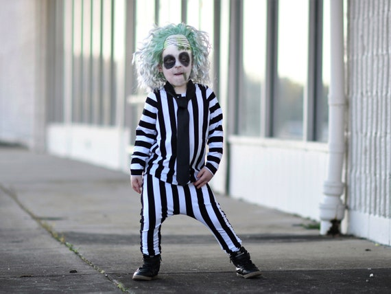 Kid S Beetlejuice Costume Black And White Stripe Long Etsy