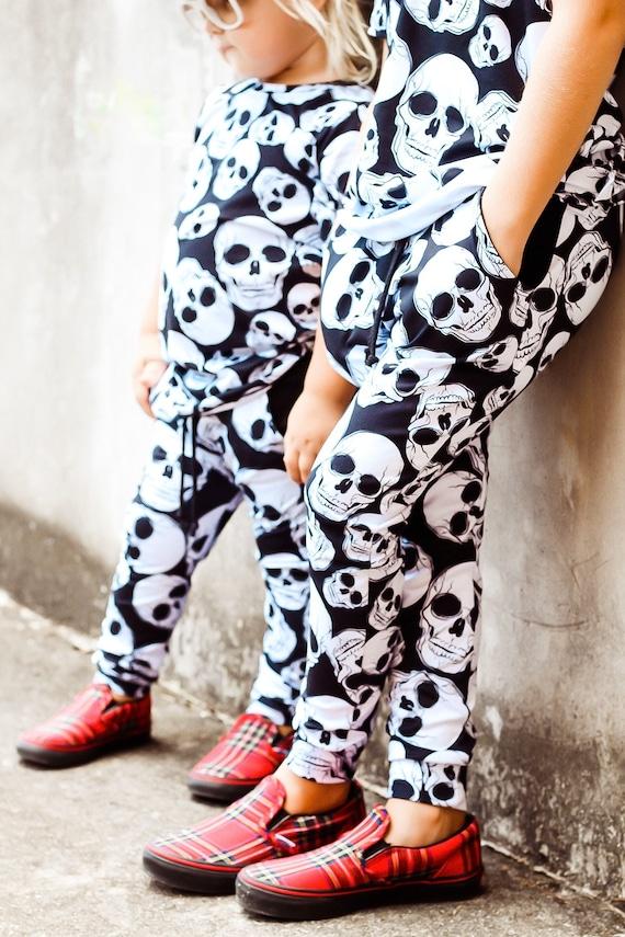 Baby Harem SHORTS or PANTS Black /& White Skeleton Skull Toddler Harem Shorts Hipster Baby Skulls Baby Halloween Pants Boy/'s Halloween