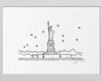 Vintage Sketch Canvas Print Liberty