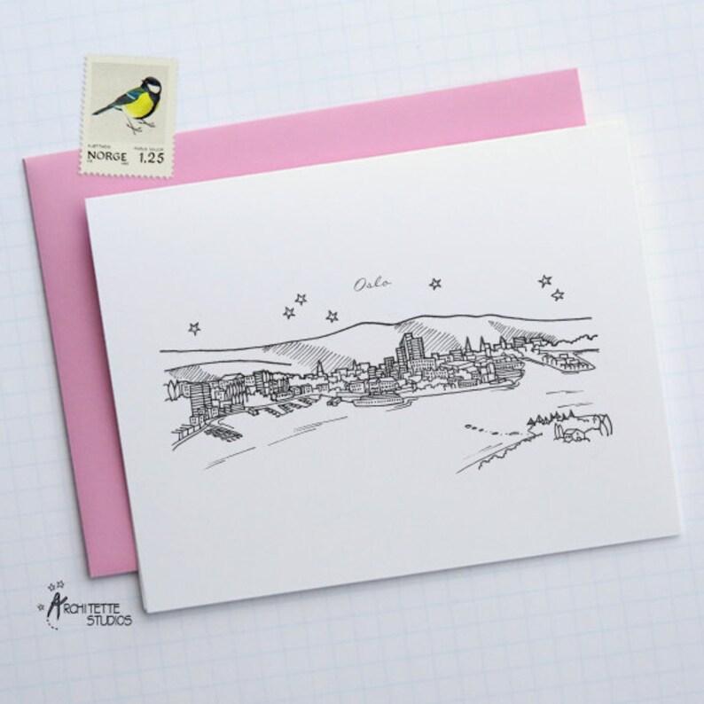 City Skyline Series 6 Oslo Folded Cards Europe Norway