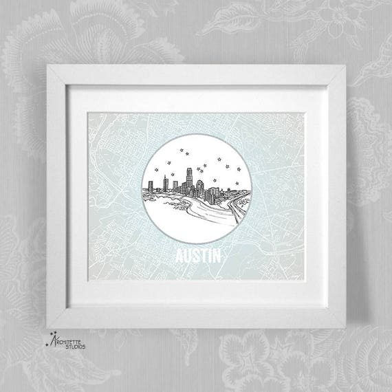 Austin, Texas - United States - Instant Download Printable Art - Vintage  City Skyline Map Series