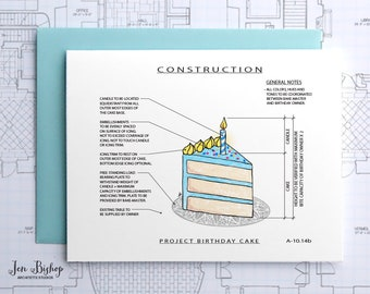 Project Birthday Cake (Blue) Construction - Construction Series Folded Blank Card