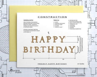 Project Happy Birthday (Yellow) - Construction Series Folded Blank Card