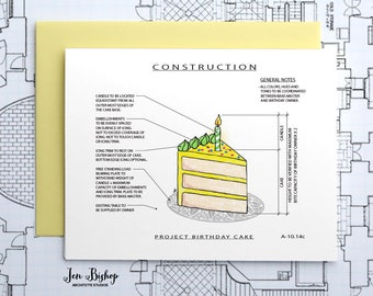 Project Birthday Cake (Yellow) - Construction Series Folded Blank Card