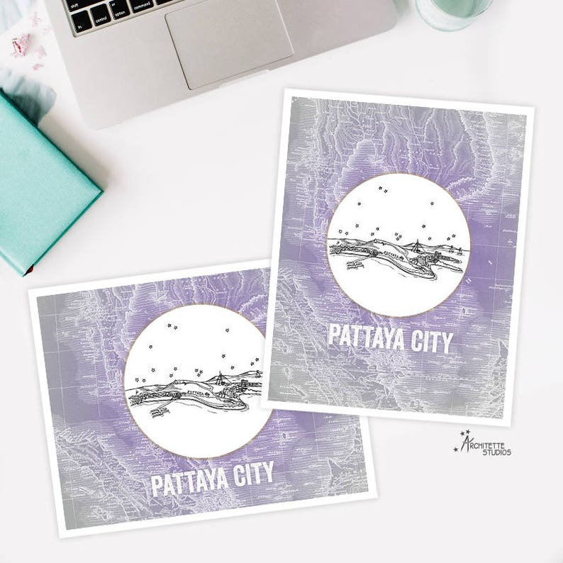 Pattaya City, Thailand - Asia/Pacific - Instant Download Printable Art -  Vintage City Skyline Map Series
