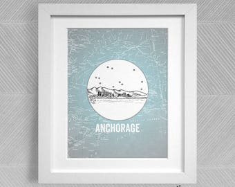 Anchorage, Alaska - United States - Instant Download Printable Art - Vintage City Skyline Map Series