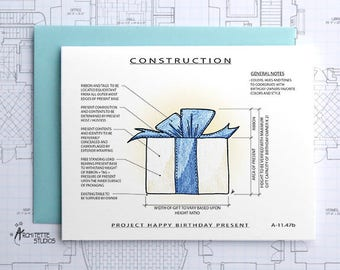 Project Birthday Present (Blue) - Construction Series Folded Blank Card