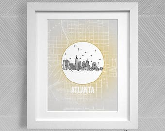 Atlanta, Georgia - United States - Instant Download Printable Art - Vintage City Skyline Map Series