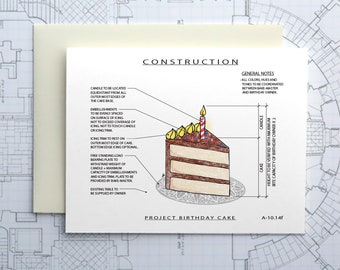 Project Birthday Cake (Chocolate) Construction - Construction Series Folded Blank Card
