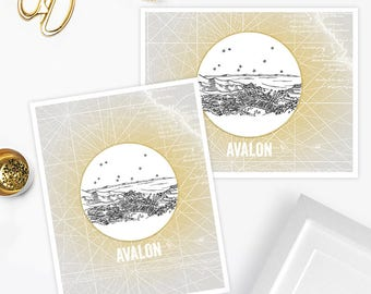 Avalon, California - Santa Catalina Island - United States - Instant Download Printable Art - Vintage City Skyline Map Series