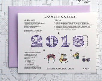 Happy New Year 2018 - Instant Download Printable Art - Construction Series