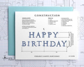 Project Happy Birthday (Blue) - Construction Series Folded Blank Card