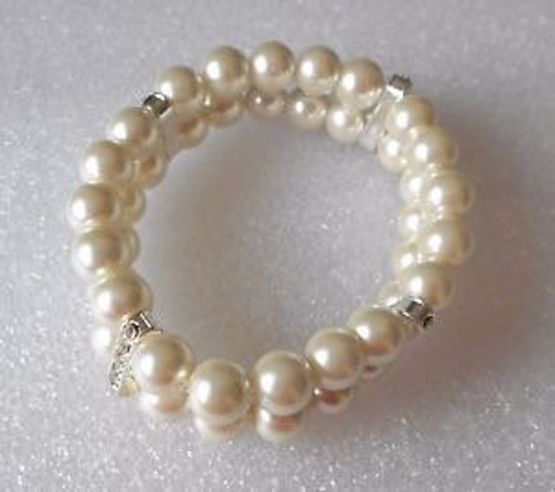 7b20f629a9e0d Handmade double row faux pearl and rhinestone spacers stretch bracelet  LARGE SIZE