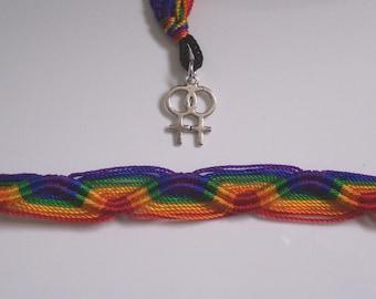 Lesbian Double Venus Symbol Rainbow Friendship Bracelet