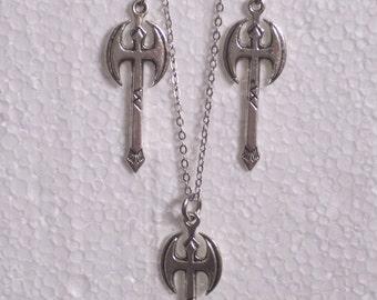 Silvertone Battle Axe Labrys Earrings  and Necklace Set - lesbian woman