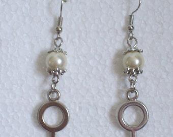 Tibetan Silver Faux Pearl Venus Symbol Earrings - Lesbian