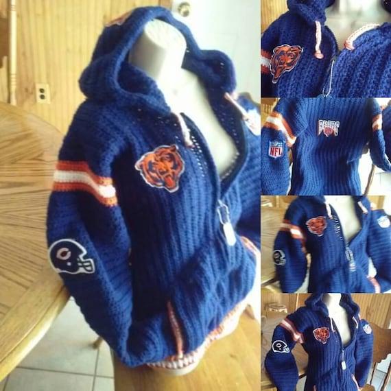 new style 658c9 b7ccb Chicago Bears NFL Crochet Adult Hoodie Stadium Jacket