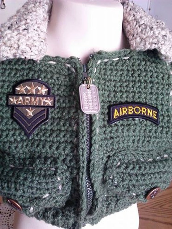 Army Baby Bomber Aviator Hat and booties