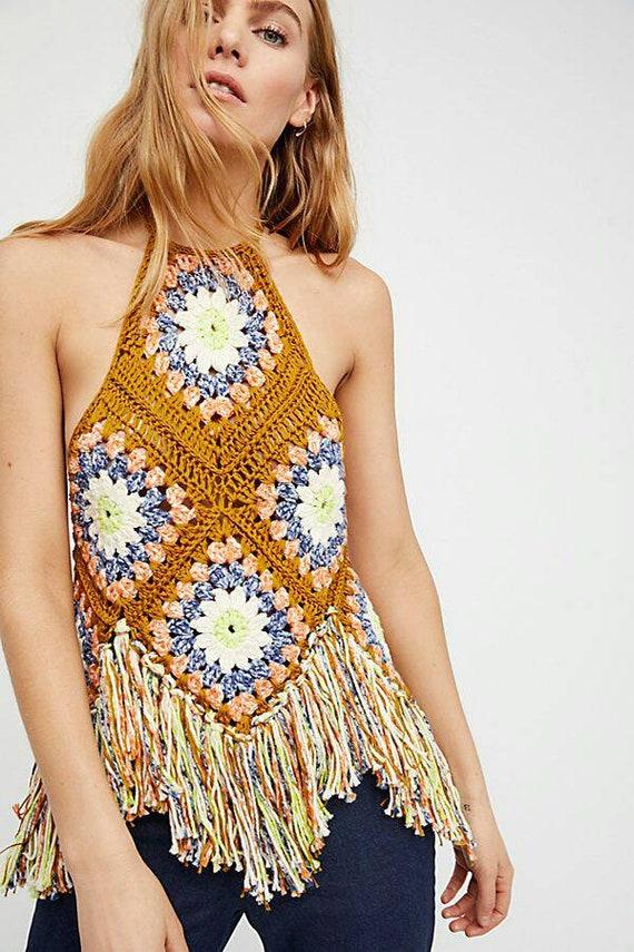Olivia Grace Nolan Groovy Summer of Love crochet Boho top