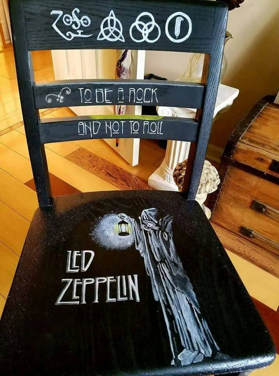 From the Olivia Grace Nolan collection Led Zeppelin Decoupage Painted Chair