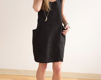 a1aa3589bb Black Linen Pocket Dress