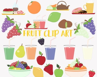 Fruit smoothie clip art set, healthy breakfast drink, fruit salad clipart (LC07)