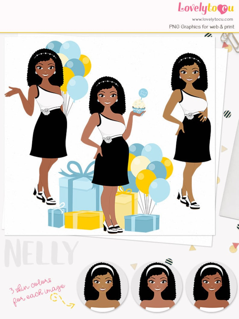pregnancy mom to be party maternity woman character baby boy Baby shower woman clipart Nelly L500 african american mother