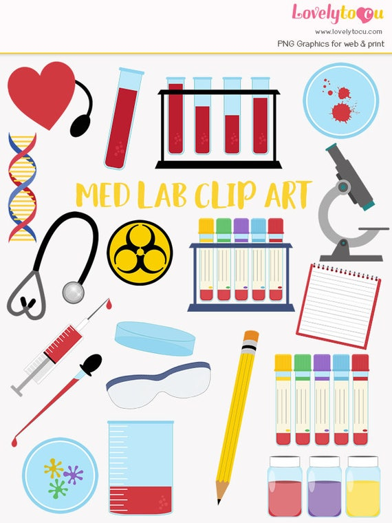 Medical laboratory clip art set, blood testing, med lab, science,  technician, hospital healthcare, nurse and doctor clipart symbols (LC39)