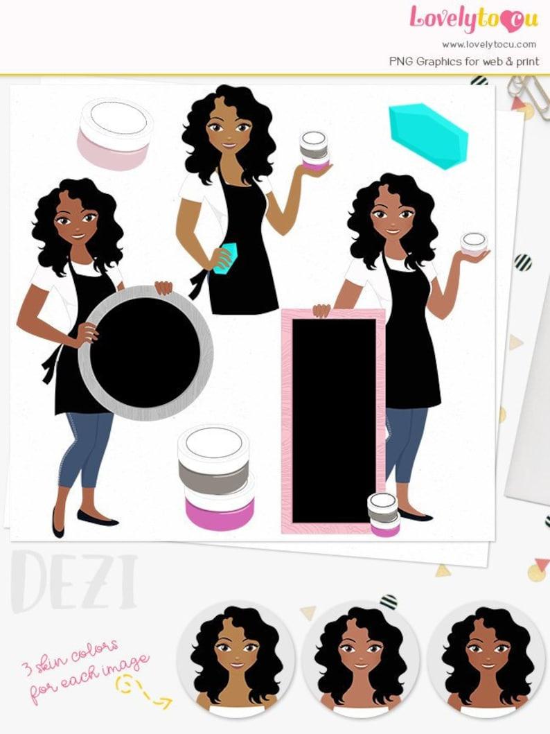 Dezi L556 digital clip art african american woman with chalk board chalk paste crafts girl character clipart Chalk art craft