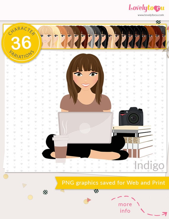 photography woman clipart set with blonde Piper L195 Photographer girl character clipart brunette and auburn hair