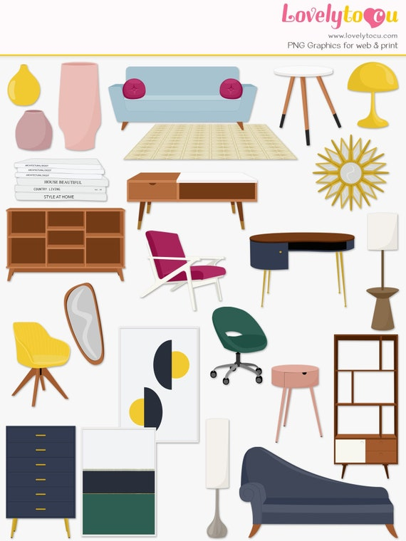 Furniture Clipart Mid Century Modern House Furnishings Etsy