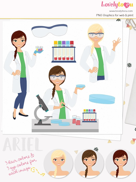 Lab technician woman character clipart medical laboratory ...