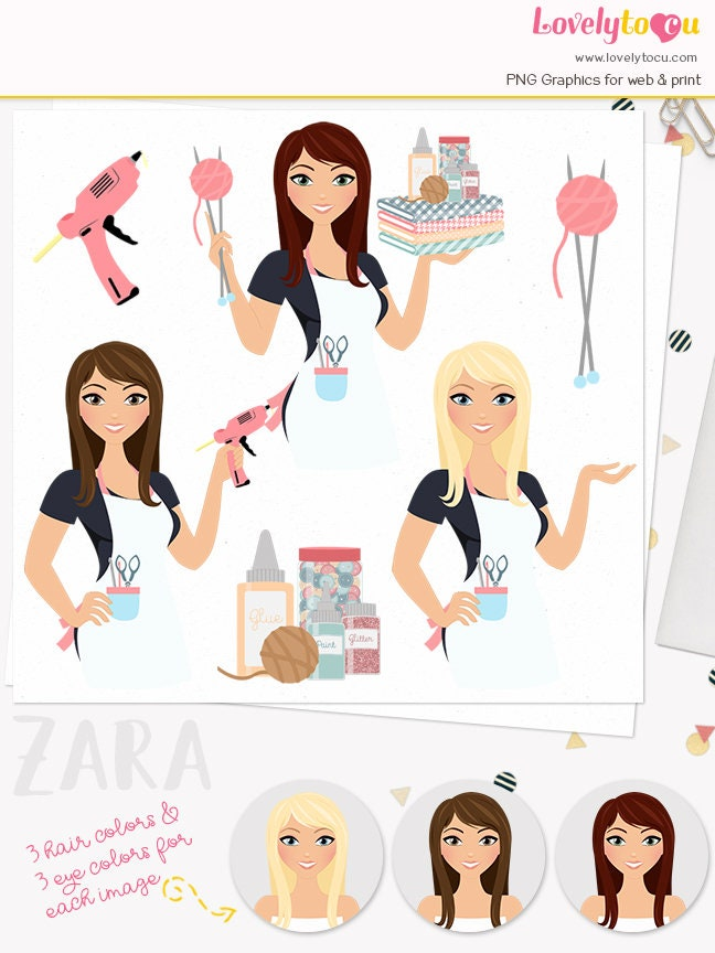 Crafts Woman Character Clipart Crafter Girl Maker Crafting Etsy