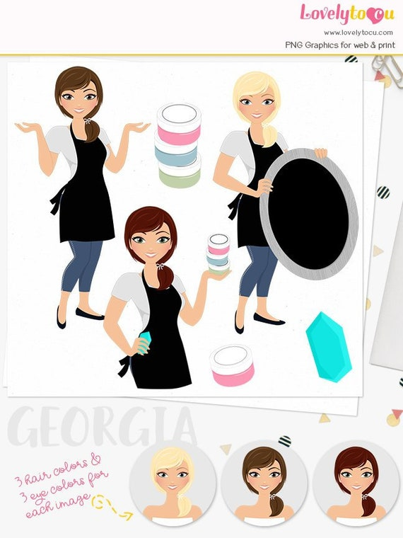 chalk paste crafts woman with chalk board Chalk art craft brunette and auburn hair girl character clipart Joy L651 blonde