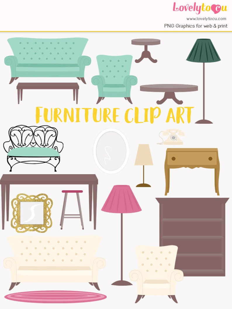 Furniture Clipart House Furnishings Interior Decorating Etsy