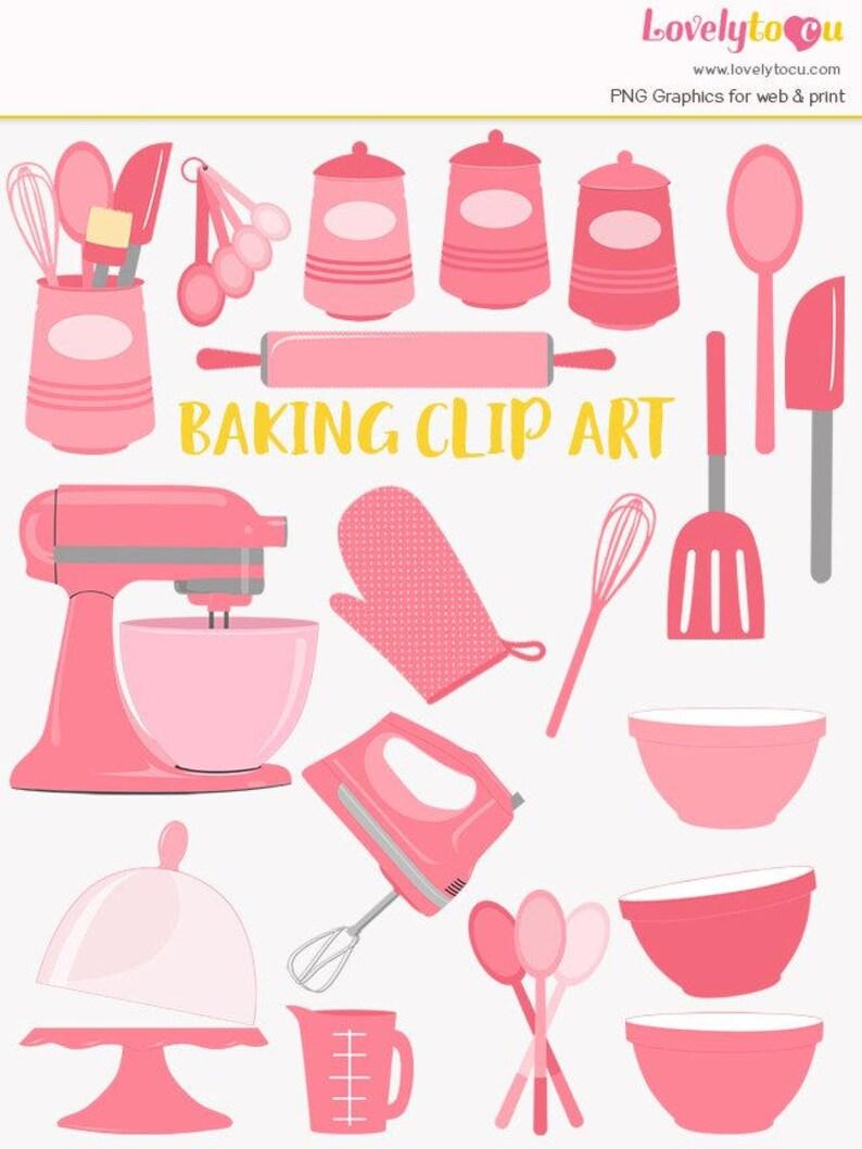 Baking Clip Art Set Baker Kitchen Baking Utensils Mixer Clipart Lc25