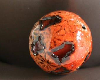 Orange Tiger Flower Torch Fired Enamel Bead 20mm